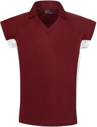 Unbranded Ashfold School Girls' Games Polo Shirt, Maroon/White