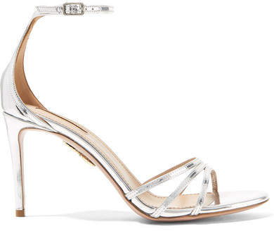 Aquazzura Very Purist Mirrored-leather Sandals - Silver