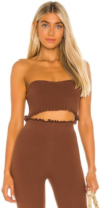 Majorelle Cropped Sweetheart Ribbed Tube Top