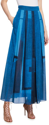 Akris Pleated Window-Print Skirt