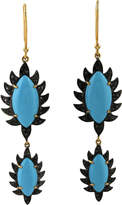 Meghna Jewels Claw Black Diamond Double Drop Earrings