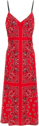 Alexander Wang Leather-trimmed Paisley-print Silk Crepe De Chine Midi Slip Dress