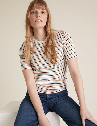 Marks and Spencer Pure Cotton Striped Regular Fit T-Shirt