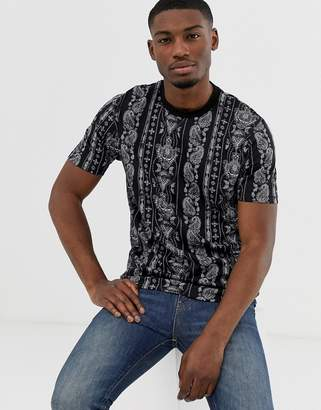 Asos Design DESIGN relaxed t-shirt with all over paisley print-Navy