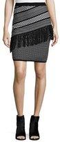 BCBGMAXAZRIA Brionna Combo Woven Skirt, Black