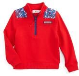 Vineyard Vines Toddler Girl's Whales & Stripes Quarter Zip Pullover