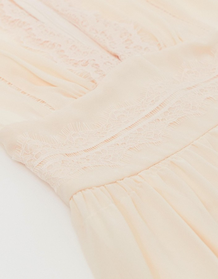 Thumbnail for your product : TFNC lace detail mini bridesmaid dress in pearl pink