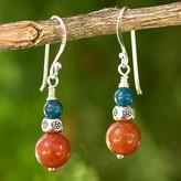 Aventurine and Kyanite Bead Earrings with Hill Tribe Silver, 'Pacific Sunset'