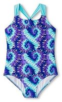CircoTM Girls' Plus Size Tie Dye 1-Piece Swimsuit - Purple