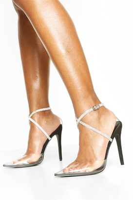 boohoo Embellished Ankle Strap Clear Courts