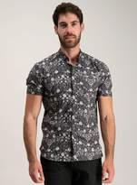 Tu Frontman Monochrome Floral Print Slim Fit Shirt
