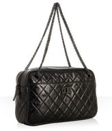 black quilted leather chain shoulder bag