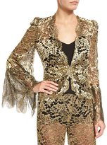 Roberto Cavalli Metallic Lace V-Neck Jacket, Gold