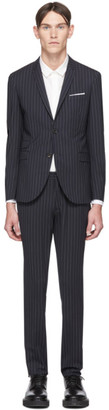 Neil Barrett Navy and White Wool Pinstripe Suit