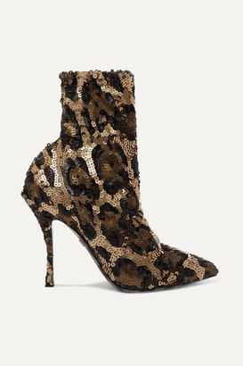 Dolce & Gabbana Sequined Stretch-knit Sock Boots - Leopard print