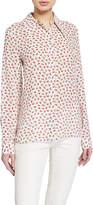 Michael Kors Rose-Print Button-Front Classic Silk Georgette Shirt