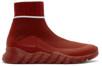 Fendi Red Tech Knit Forever High-Top Sneakers