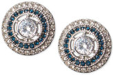 Lauren Ralph Lauren Silver-Tone Clear and Blue Crystal Halo Stud Earrings