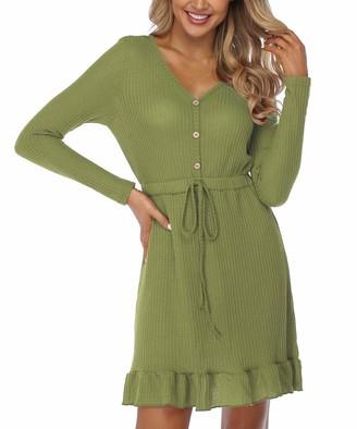Joweechy Womens Long Sleeve T Shirt Dress V Neck Buttons Jumper Tunic Dress Casual Ruffle Knitted Mini Dresses(S/GN) Green