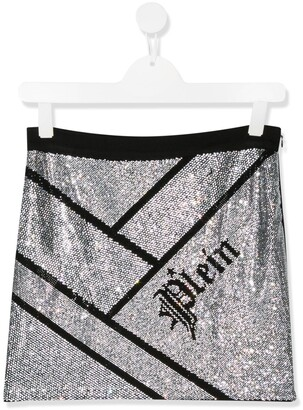 Philipp Plein Junior Embellished Logo Skirt