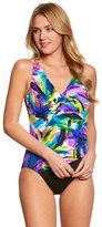 Longitude Mardi Gras Side Shirred Surplice One Piece Swimsuit 8150539
