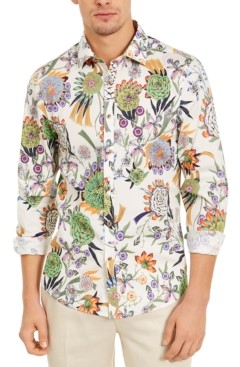 Paisley & Gray Men's Slim-Fit Stretch Thistle Flower Shirt
