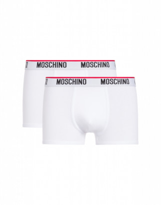 Moschino Set Of 2 Cotton Jersey Boxers With Logo Man White Size L It - (m Us)
