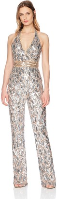 Mac Duggal Womens Crossover V-Neck Fitted Sequin Jumpsuit Nude/Gold