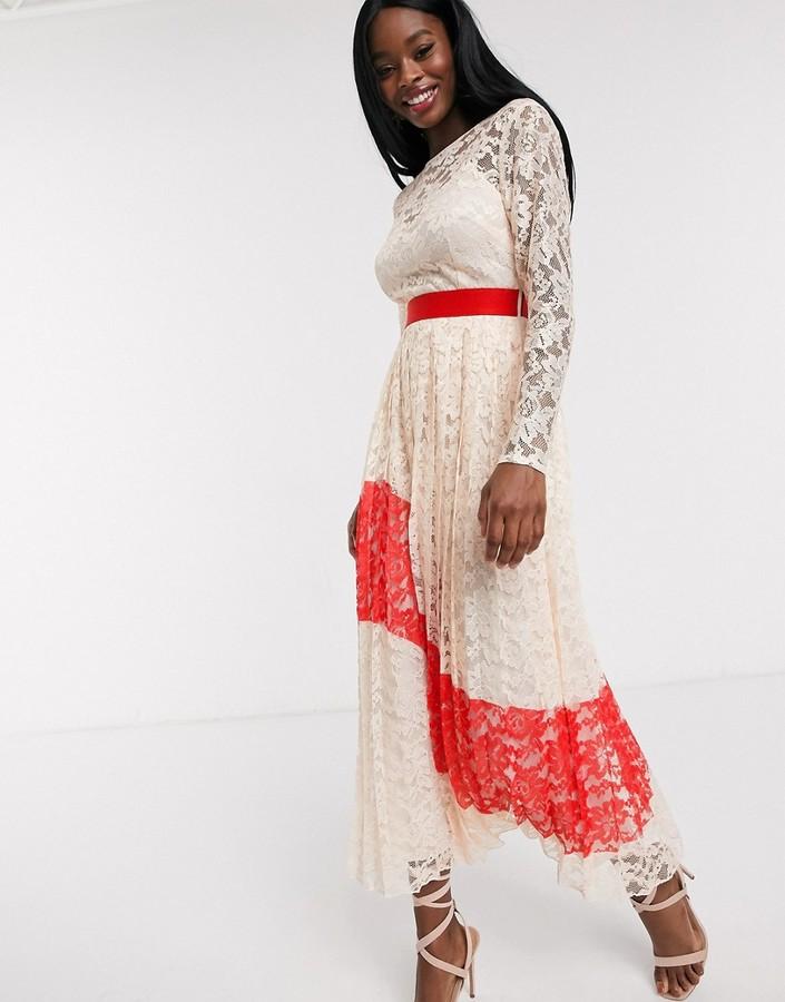 Little Mistress contrast lace pleated midi dress