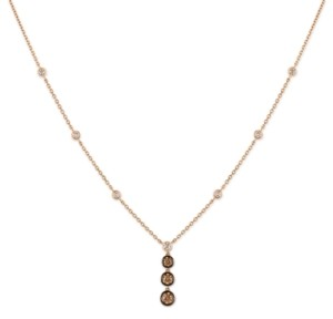 "LeVian Le Vian Chocolate Diamond & Vanilla Diamond 18"" Pendant Necklace (1-1/5 ct. t.w.) in 14k Rose Gold"