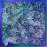 Arlette Ess 'Sleeping Dogs' Large Silk Cotton Scarf In Blue Hues