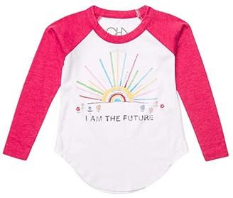 Chaser Recycled Vintage Jersey Long Sleeve Baseball T-Shirt (Toddler/Little Kids) (White/Strawberry) Girl's Clothing