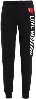 Love Moschino Printed French Cotton-blend Terry Track Pants