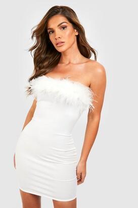 boohoo Bandeau Feather Mini Bodycon Dress