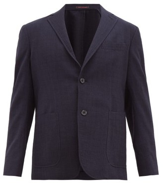 The Gigi - Single-breasted Wool-crepe Blazer - Navy