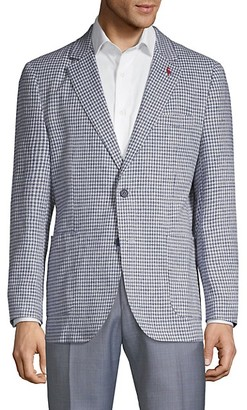 Tailorbyrd Standard-Fit Mini Check Linen Cotton Sportcoat