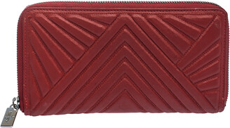 Valentino Red Coated Fabric Zip Around Wallet