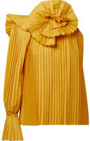 Rosie Assoulin One-shoulder Pleated Poplin Top - Mustard