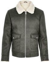 River Island Mens Grey shearling collar jacket