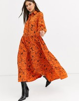 Neon Rose maxi tiered tea dress in horse sketch print