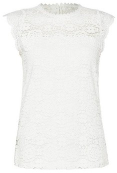 Dorothy Perkins Womens White Sleeveless Lace Shell Top, White