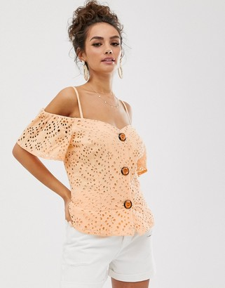 Asos DESIGN contrast broderie off shoulder top with button through