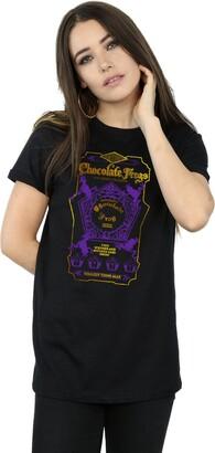 Harry Potter Women's Chocolate Frogs Coloured Label Boyfriend Fit T-Shirt Medium Black