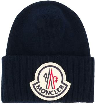 Moncler oversized logo patch beanie