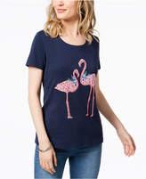 Karen Scott Embellished Flamingo T-Shirt, Created for Macy's