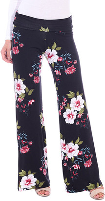 Brooke & Emma Women's Casual Pants ST95 - Navy & Pink Floral Palazzo Pants - Women & Plus