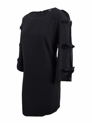 MSK Women's Plus Size Day to Evening Boat Neck Dress with Velvet Bow Sleeves