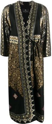 Etro Metallic-Embroidered Tie-Waist Coat
