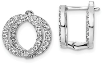 Sterling Silver Cubic Zirconia Circle Front and Back Hinged Earrings by Versil