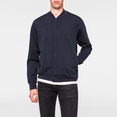 Paul Smith Men's Navy Marl Double-Face Jersey-Mesh Panelled Bomber Jacket